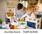 young father with a toddler boy ... | Shutterstock . vector #768926500