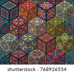 colorful vintage seamless... | Shutterstock .eps vector #768926554