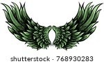 pair of vector wings with green ... | Shutterstock .eps vector #768930283