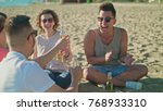 young people clinking bottles ... | Shutterstock . vector #768933310