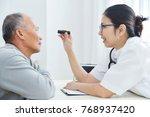 young asian female doctor wear...   Shutterstock . vector #768937420