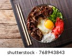 gyudon beef with rice  egg and... | Shutterstock . vector #768943843