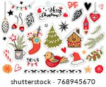 lovely christmas stickers in... | Shutterstock .eps vector #768945670