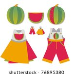 baby applique on pocket - watermelon - stock vector