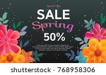 sale banner with colors flowers ...   Shutterstock .eps vector #768958306