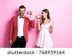 couple communicating on tin can ... | Shutterstock . vector #768959164