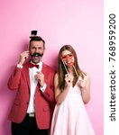 couple with funny valentine's... | Shutterstock . vector #768959200
