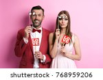 portrait of couple with photo... | Shutterstock . vector #768959206