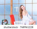 sexy lingerie  christmas girl...   Shutterstock . vector #768961228