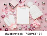 warm winter clothes and... | Shutterstock . vector #768965434