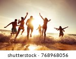 big crowd of people having fun... | Shutterstock . vector #768968056