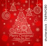 decorative christmas greeting... | Shutterstock . vector #768969280