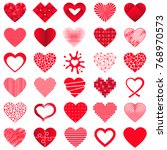 set of 30 valentine hearts in... | Shutterstock .eps vector #768970573