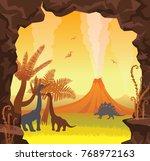 prehistoric landscape with... | Shutterstock .eps vector #768972163