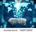 businessman holding map | Shutterstock . vector #768972850