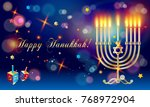hanukkah festival of lights... | Shutterstock .eps vector #768972904
