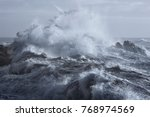 Rough sea on the rocky northern ...