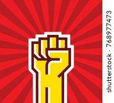 human hand up proletarian... | Shutterstock .eps vector #768977473