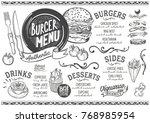 burger food menu for restaurant ... | Shutterstock .eps vector #768985954