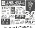 dessert menu for restaurant and ... | Shutterstock .eps vector #768986596