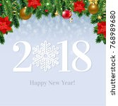2018 happy new year card  | Shutterstock . vector #768989680