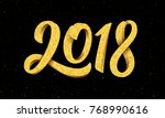 happy new year 2018 greeting... | Shutterstock .eps vector #768990616