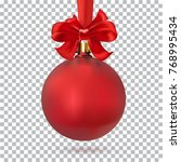 red christmas ball on isolated... | Shutterstock .eps vector #768995434
