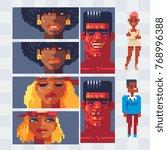 pixel art style video game...   Shutterstock .eps vector #768996388