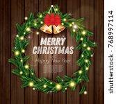 christmas wreath with green fir ... | Shutterstock .eps vector #768997114