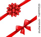 red ribbon bow set with... | Shutterstock .eps vector #768999520