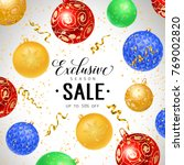 exclusive season sale lettering | Shutterstock .eps vector #769002820