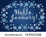 inscription hello  january in a ... | Shutterstock . vector #769005388
