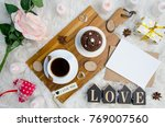 love valentine's day flat lay... | Shutterstock . vector #769007560