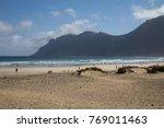 beautiful beach in lanzarote | Shutterstock . vector #769011463