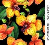 yellow orzhideas in seamless ... | Shutterstock . vector #769013494