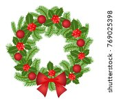christmas wreath isolated on a... | Shutterstock .eps vector #769025398