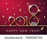 golden vector 2018 happy new... | Shutterstock .eps vector #769034710