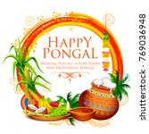 illustration of happy pongal... | Shutterstock .eps vector #769036948