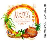 illustration of happy pongal... | Shutterstock .eps vector #769036948