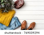 casual female outfit for autumn ... | Shutterstock . vector #769039294