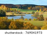 colorful autumn landscape with... | Shutterstock . vector #769041973