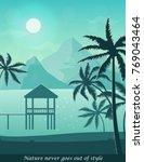 illustration of sunny seashore... | Shutterstock .eps vector #769043464