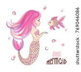 beautiful cartoon little... | Shutterstock .eps vector #769046086