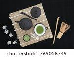 matcha green tea ceremony with... | Shutterstock . vector #769058749