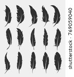 set of old feather for writing... | Shutterstock .eps vector #769059040