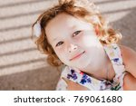 portrait of a cute adorable... | Shutterstock . vector #769061680
