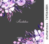 floral design card with... | Shutterstock . vector #769064884