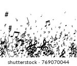 black musical notes flying... | Shutterstock .eps vector #769070044