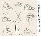 set of sporting icons  skates ... | Shutterstock .eps vector #769072096