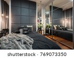 Stock photo luxurious bedroom with double bed and mirrored wardrobe 769073350